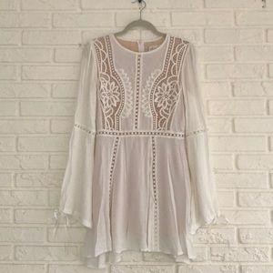 White Boho Crochet Dress with Bell Sleeves
